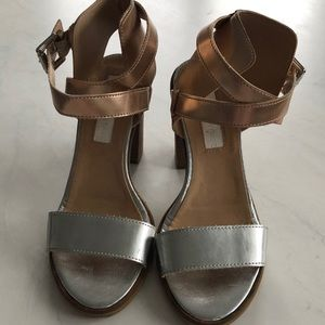Modern Vintage silver and gold metallic heels